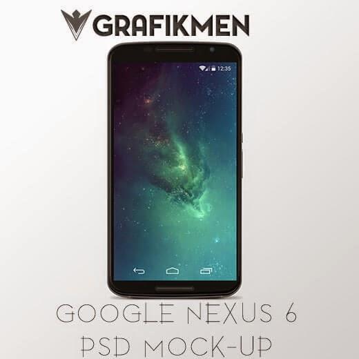 Ücretsiz Google Nexus 6 PSD Mock-up Dosyası