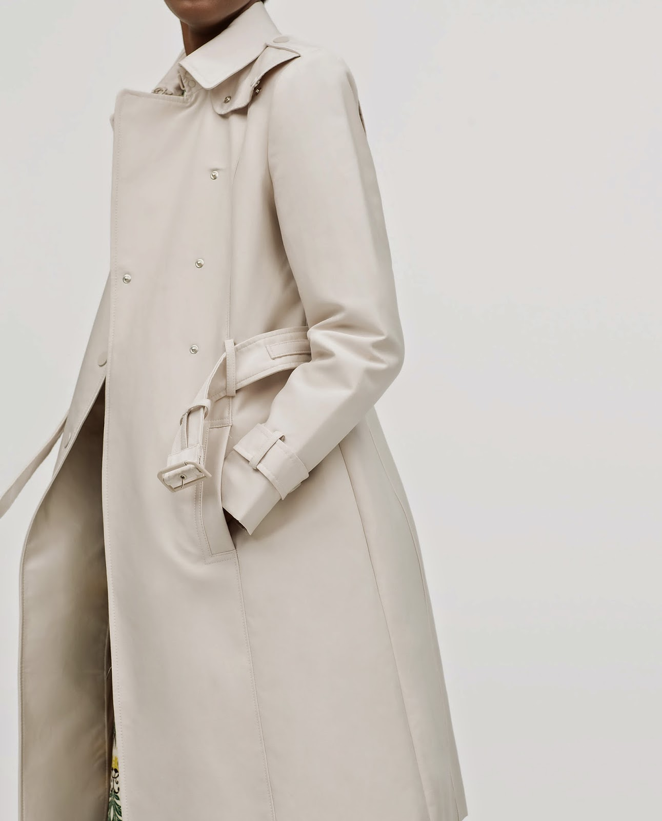 zara cream long trenchcoat
