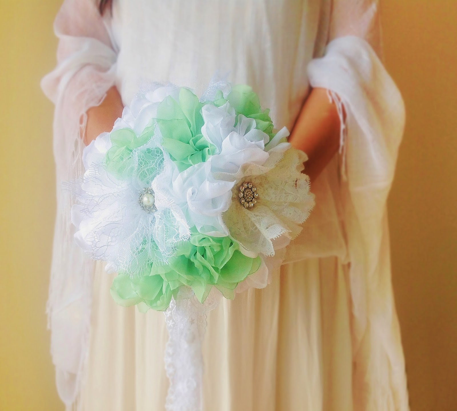 Peony bridal bouquet in mint