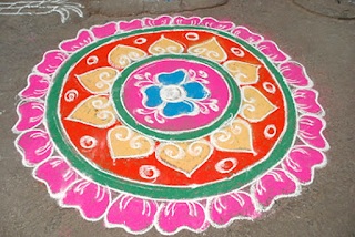 circle rangoli for sankranti