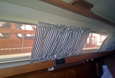 Superior Au0027s Mom Sewed Curtains For The Windows. Those Are Made From Black Striped  Cotton. The Curtains Fit Really Well To The Boat. She Did A Good Job.