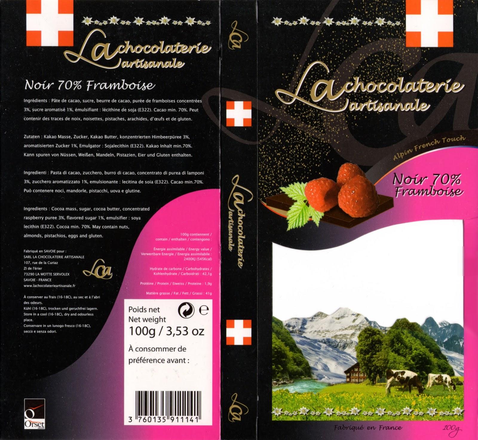 tablette de chocolat noir gourmand la chocolaterie artisanale noir framboise