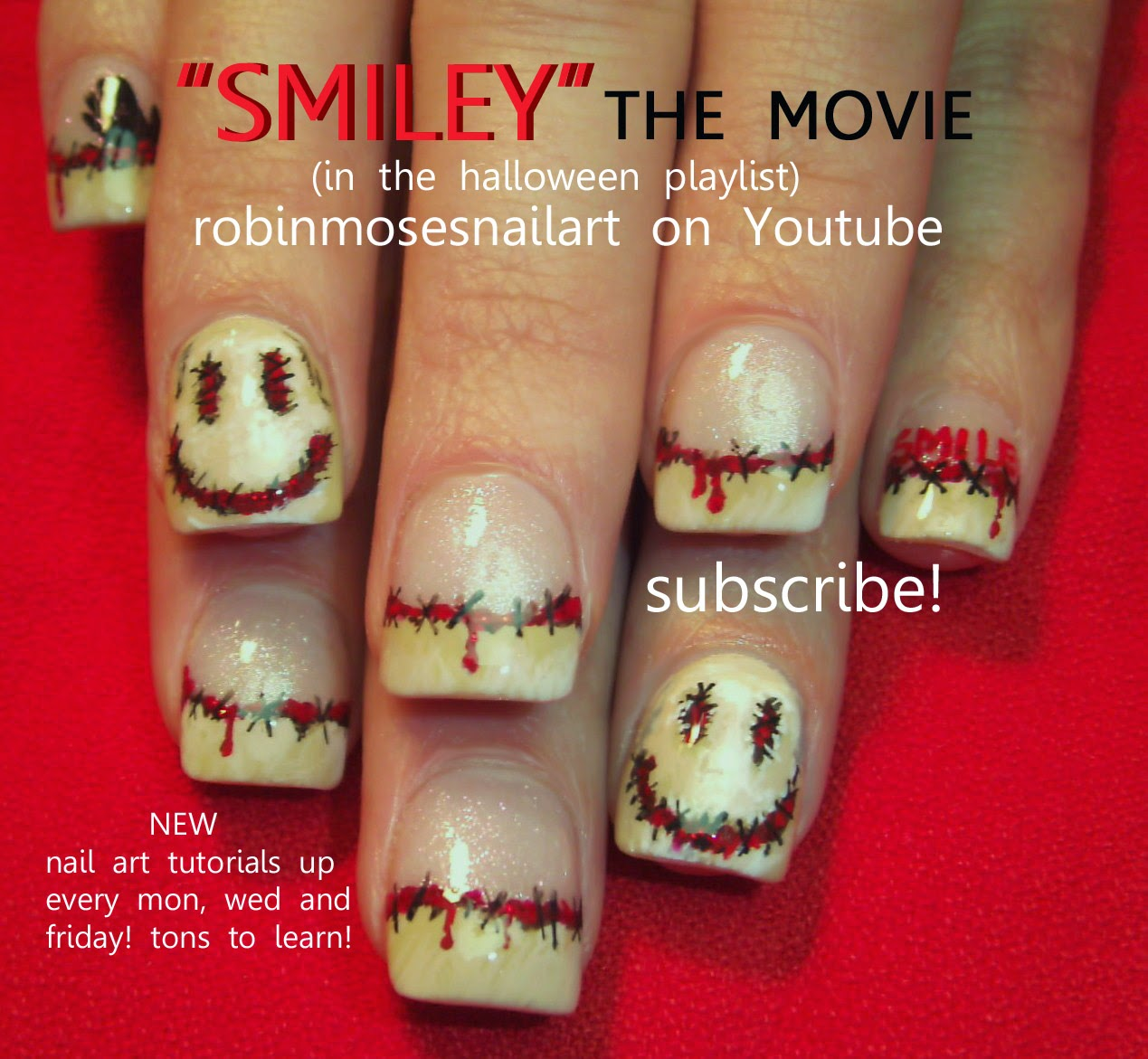 Robin moses nail art halloween nails halloween nail art nail art tutorials diy halloween nail designs dark horror film and scary nail art for beginners and up prinsesfo Images