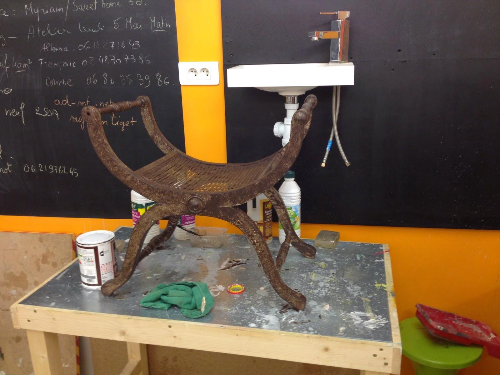 Peinture sur meuble finition effet rouille et patine or - Peinture effet rouille ...