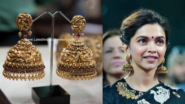 Deepika Padukone Gold Jhumkas