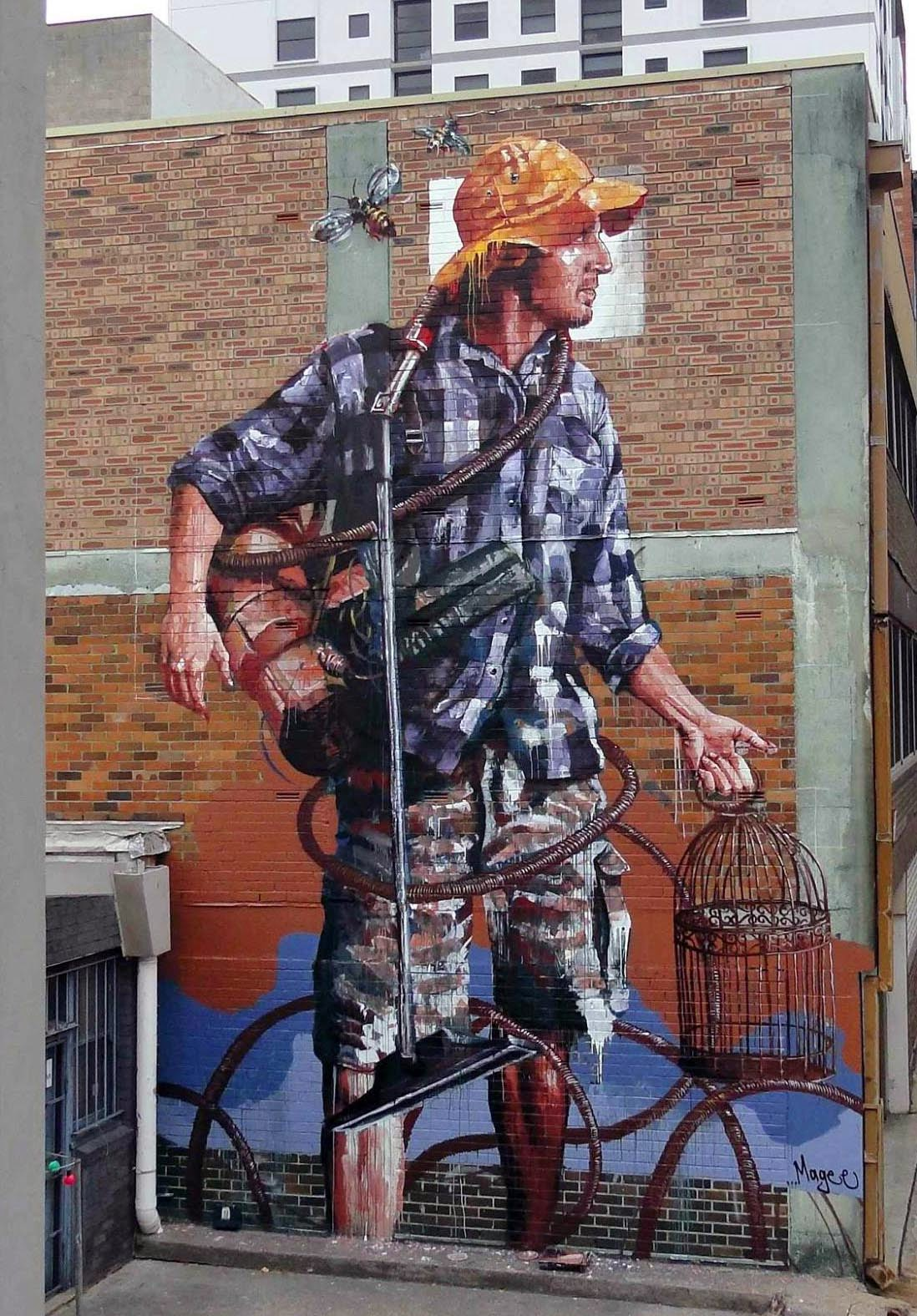 Fintan magee paints domestic bliss his new mural in for Australian mural