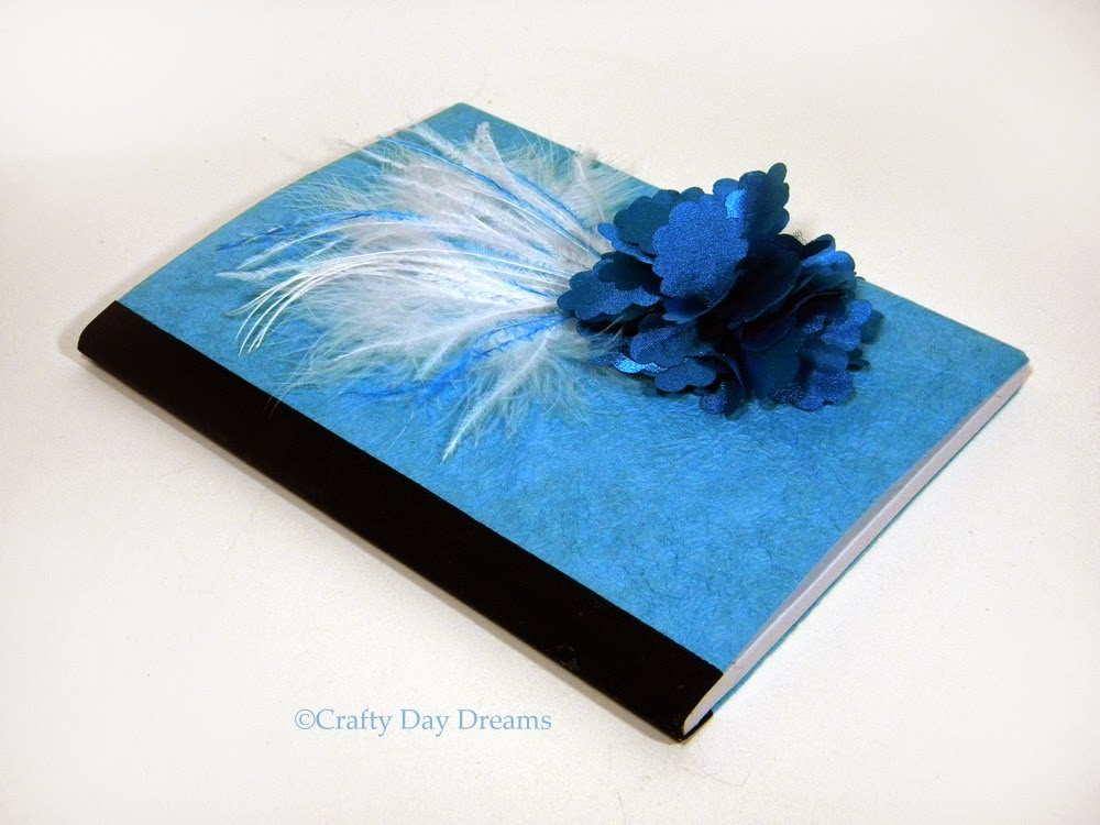 Blue Fabric Flowers and Feathers Altered Composition Notebook Journal