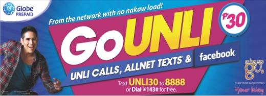 globe prepaid go unli text promo