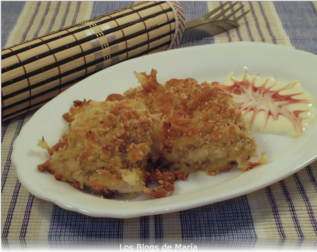 Pechuguitas de pollo con sesamo y queso