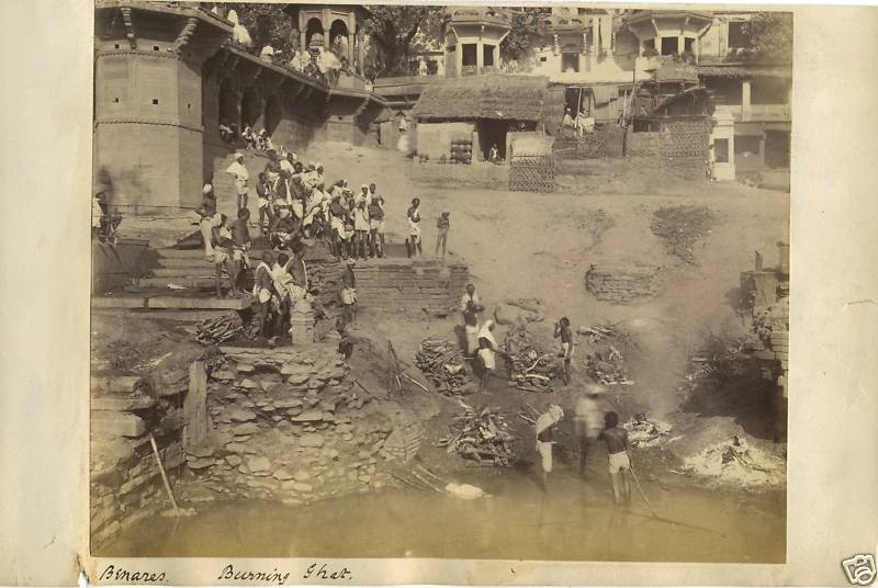 Burning Ghat of Benares (Varanasi) - 1894
