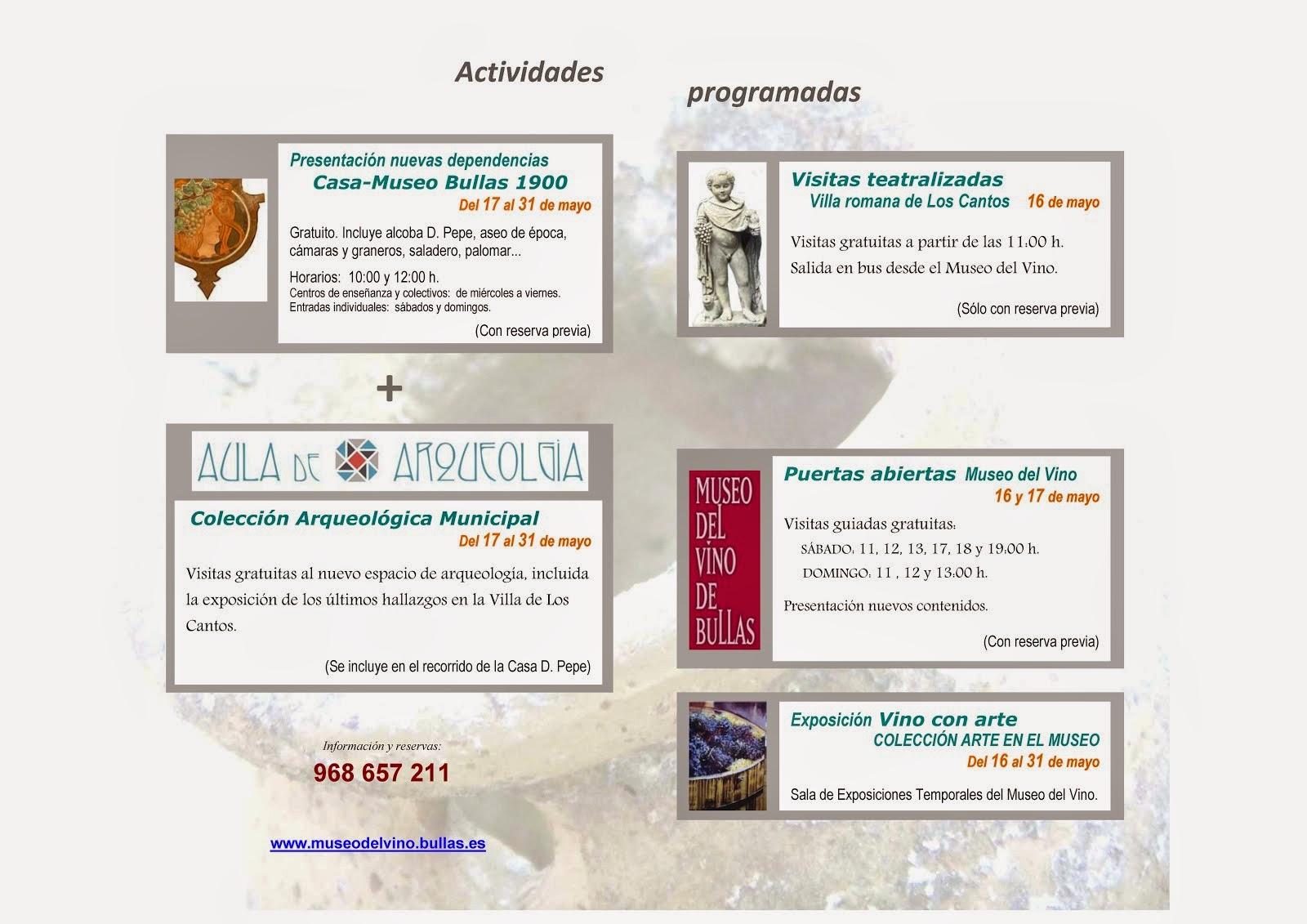 Actividades de mayo en el Museo del Vino de Bullas
