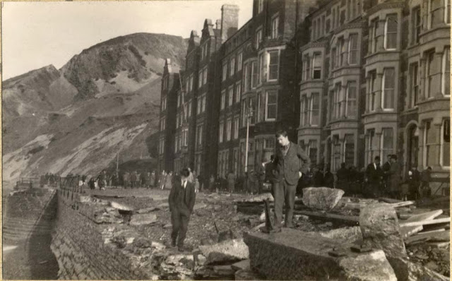 Storm damage North end of Marine Terrace, Aberystwyth, 1927.
