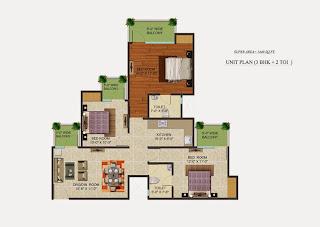 Golf Country, Yamuna Expressway :: Floor Plans,Golf Village:-Studio Unit Plan Plot Area: 1440 Sq. Ft.