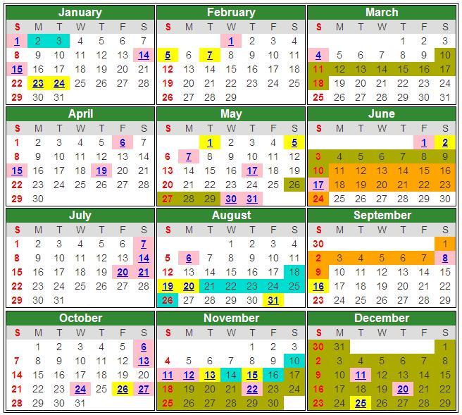 malaysia pink cuti umum public holiday negeri hijau cuti sekolah