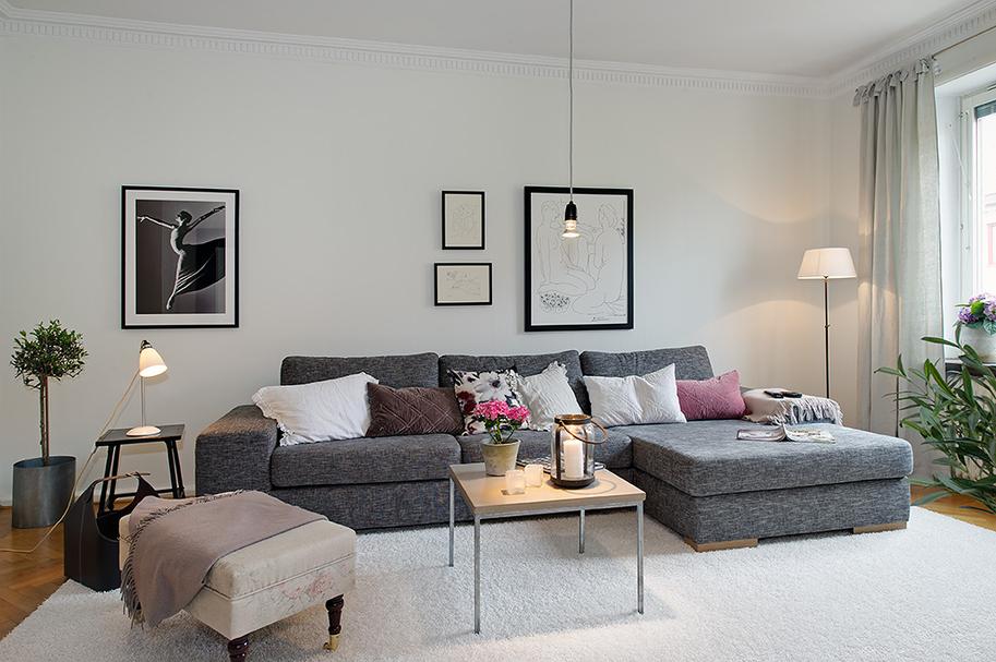 Boho deco chic sofisticado y elegante piso sueco - Muebles de salon en blanco roto ...
