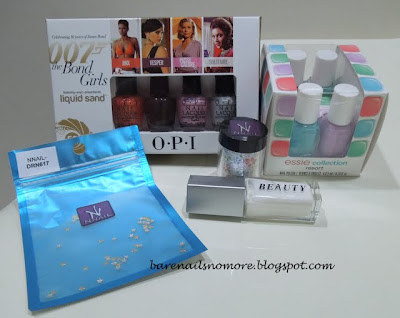 Minis haul OPI Bond Girls, Essie Resort 2013, KKCenterHk nail foil and star studs