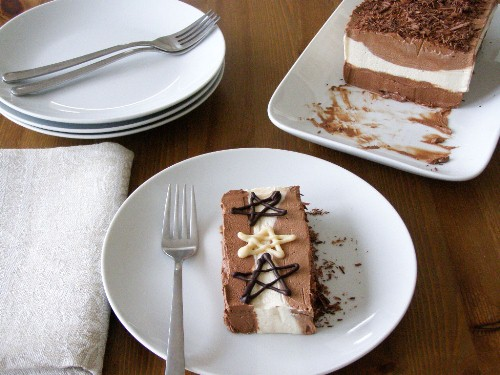 Vegan White and Dark Chocolate Mocha Hazelnut Layered Mousse