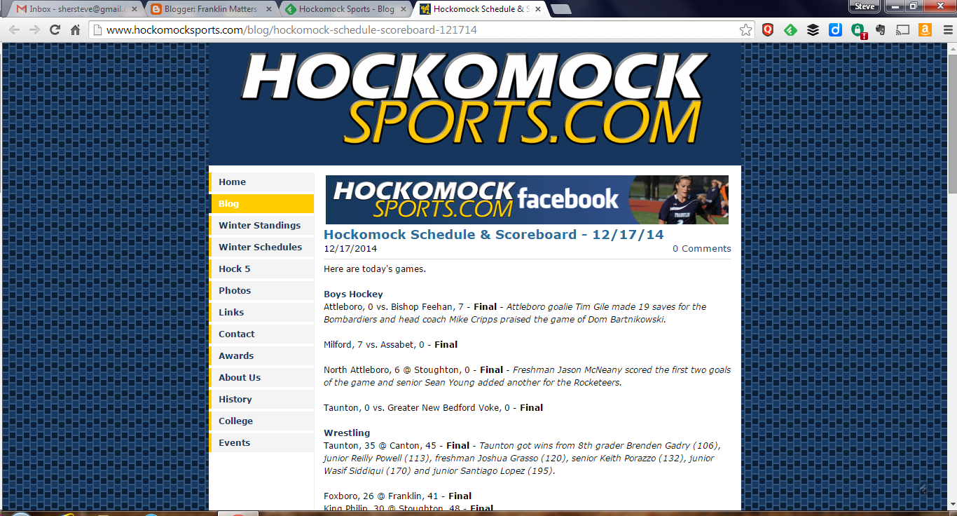 screen grab of Hockomock Sports website