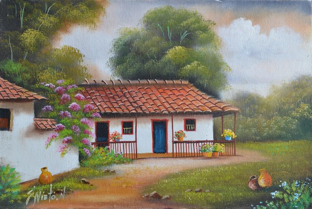 Cuadros modernos pinturas y dibujos galer a paisajes - Paisajes de casas ...