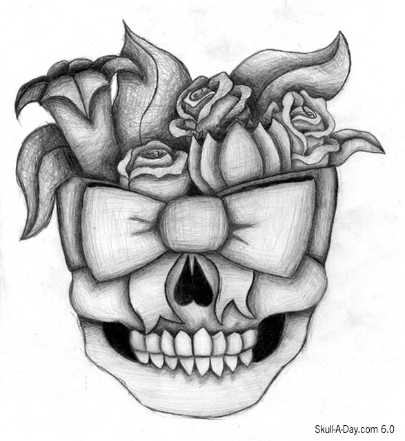 Easy Drawings Of Skulls And FlowersSomeone Drawing A Flower