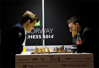 Echecs : Magnus Carlsen (2881) 1/2 Fabiano Caruana (2791) - Photo Chessbase