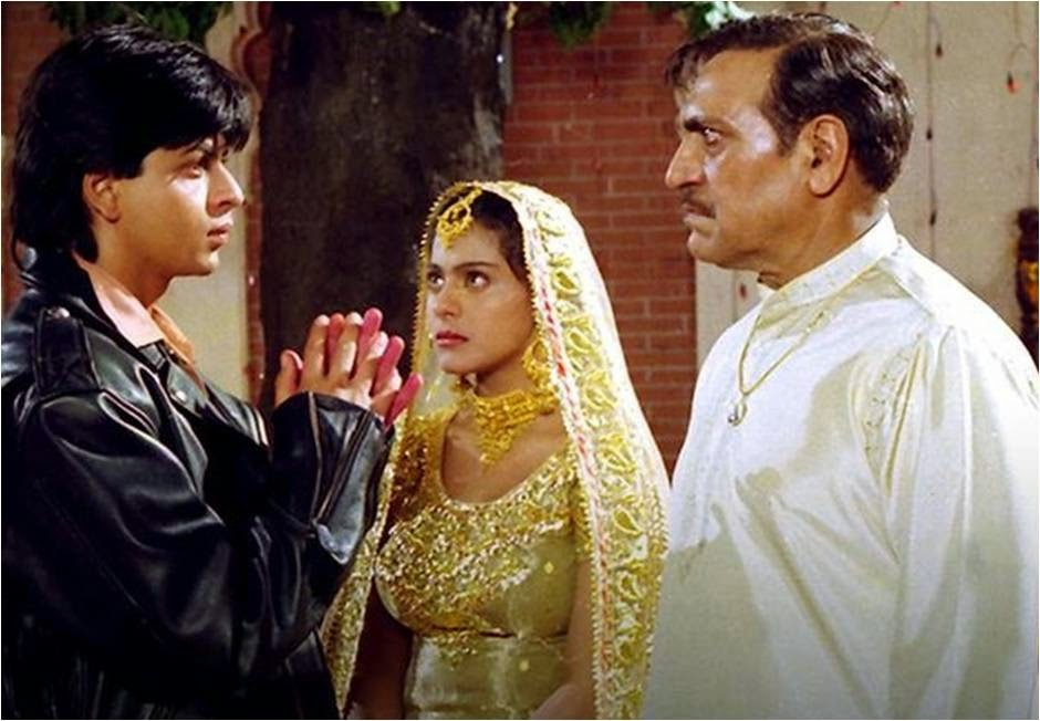 Shahrukh, Kajol and Amrish Puri in DDLJ