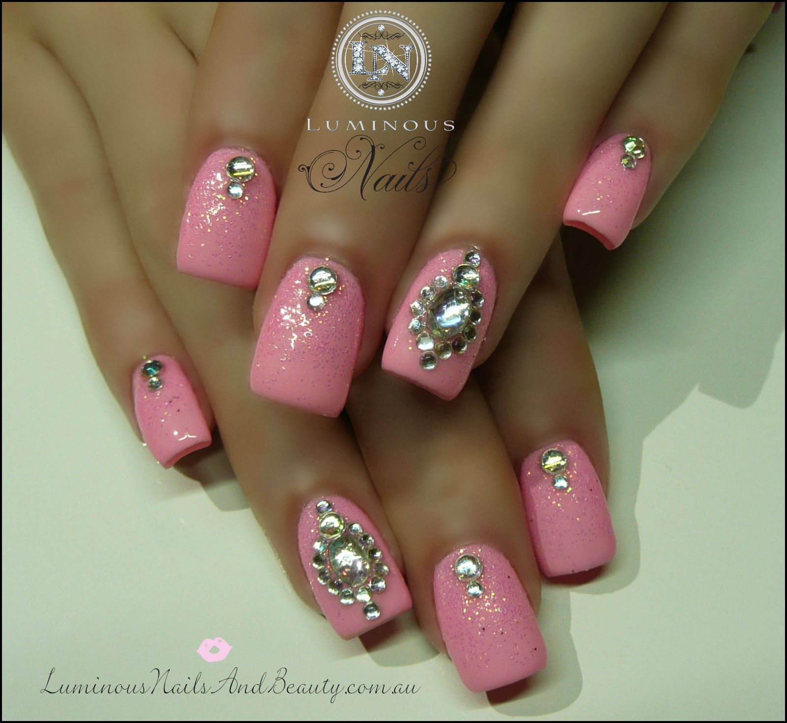 Barbie Pink Nails with Pink Glitter & Crystals...