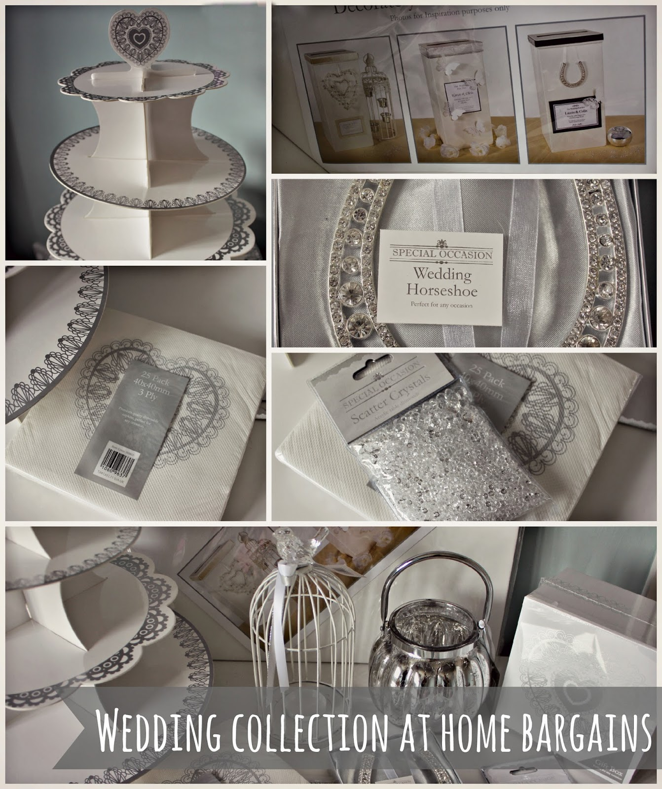 Homebargains wedding range k elizabeth i was also sent a card board cake stand napkins scatter crystals a traditional wedding horse shoe and a wedding card post box junglespirit Image collections