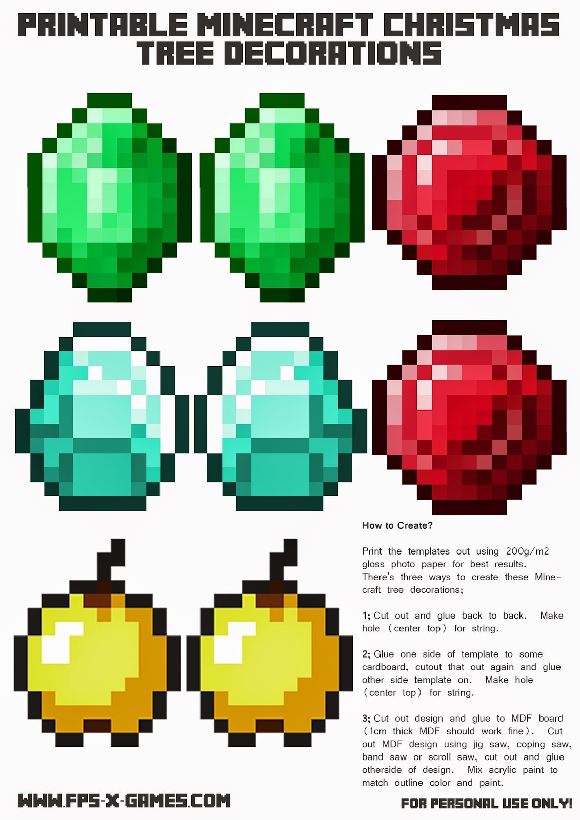 Printable Minecraft Christmas Tree Decoration template