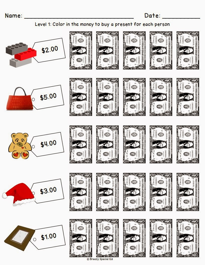 ChristmasHoliday Shopping Worksheets for FREE Breezy Special Ed – Dollar Up Worksheets