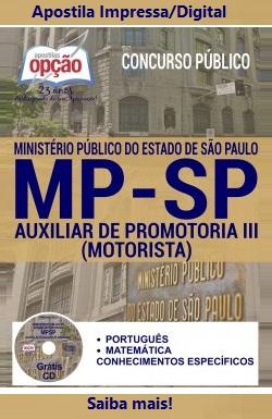 Apostila MP-SP Ministério Público de SP - Auxiliar de Promotoria III