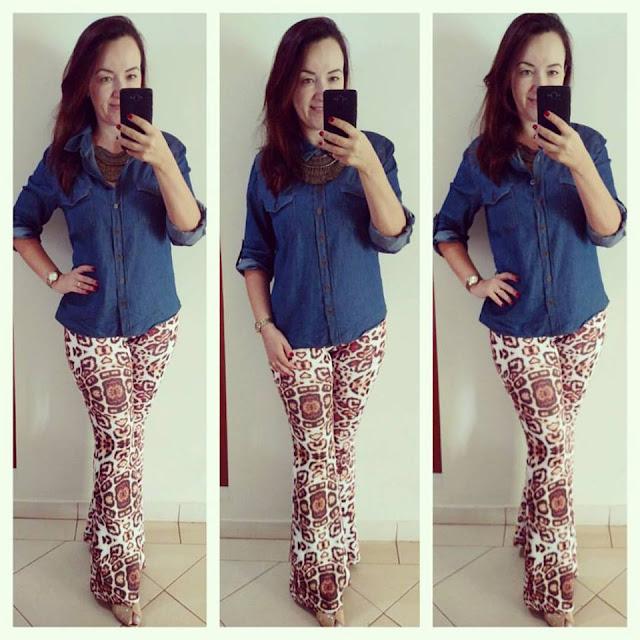blog camila andrade, camila andrade, fashion blogger em ribeirão preto, blogueira de moda em ribeirão preto, calça flare animal print, camisa jeans