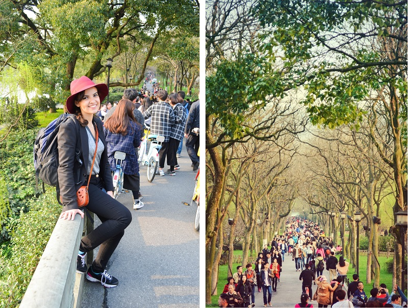 the serial shopper and crowd of people in hangzhou