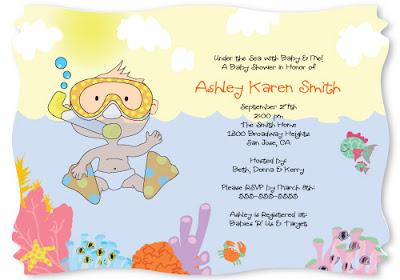 under the sea baby and me caucasian baby boy shower invitation