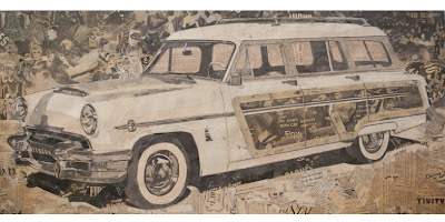 Nathan Stromberg newspaper collage of an old station wagon
