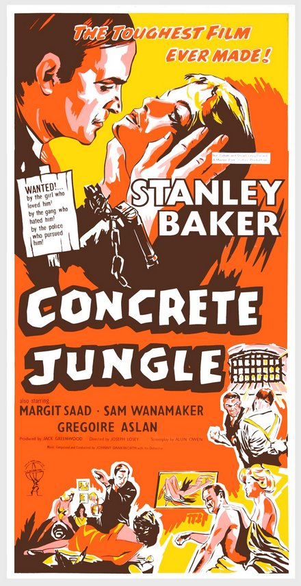 classic posters, free download, graphic design, movies, retro prints, theater, vintage, vintage posters, Concrete Jungle, The Toughest Film Ever Made, Stanley Baker - Vintage Movie Poster