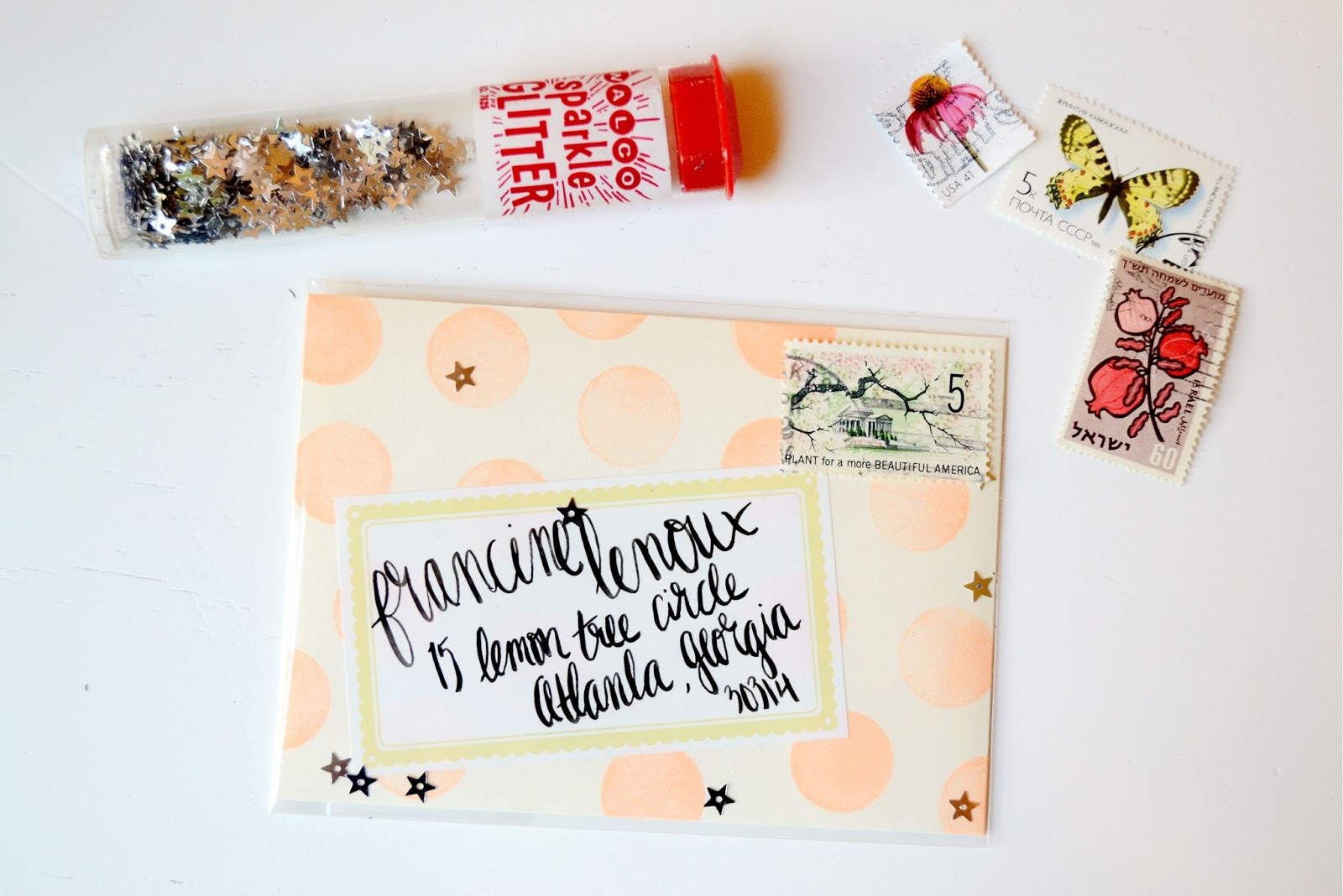 coral, yellow, paper source, hand lettering, fun fonts, gel pen, polka dot, glitter