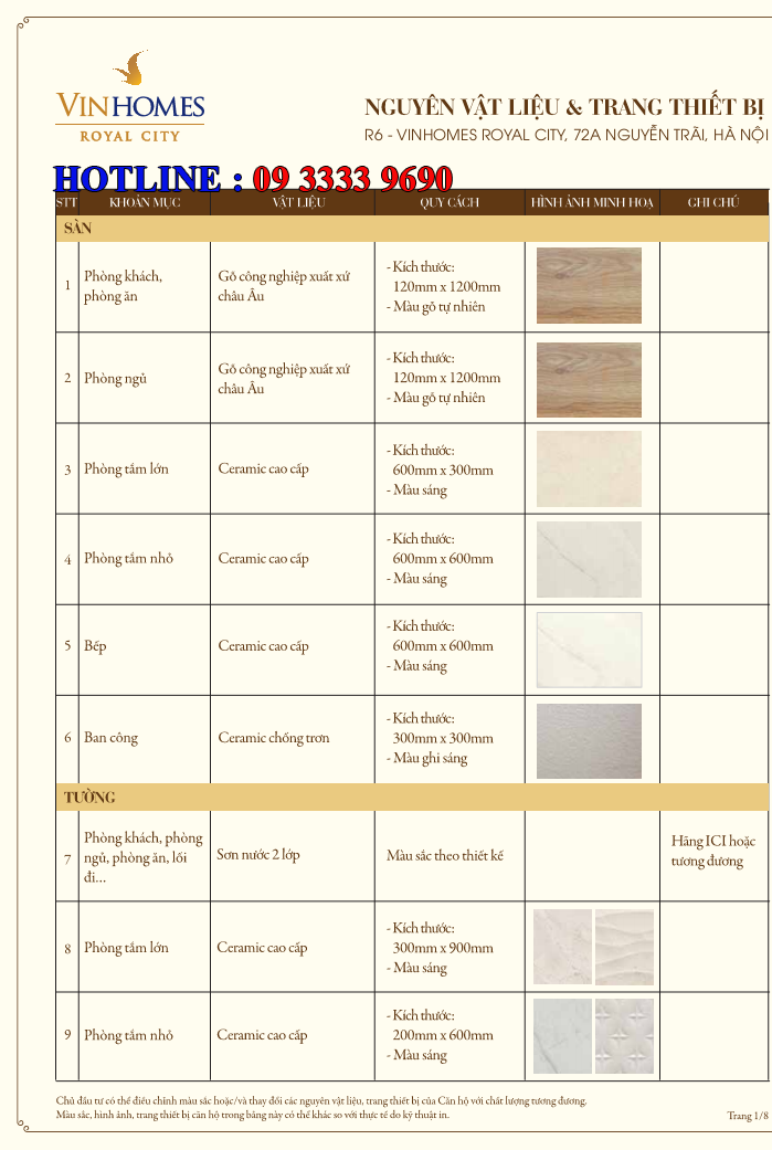Bảng nguyên vật liệu căn hộ hạng sang Royal City R6 - Trang 1