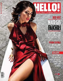 Nargis Fakhri in Red Gown on cover Page of  Helo Magazine Feb 2016
