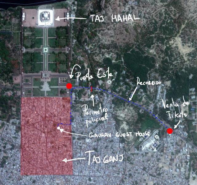 mapa de Taj Ganj