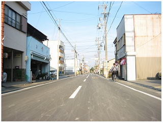 Wheel tracks on the road after a festival in Japan