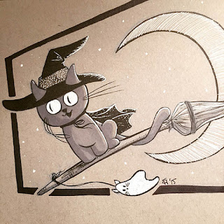 Black and white ink drawing of a kitty witch riding a broomstick