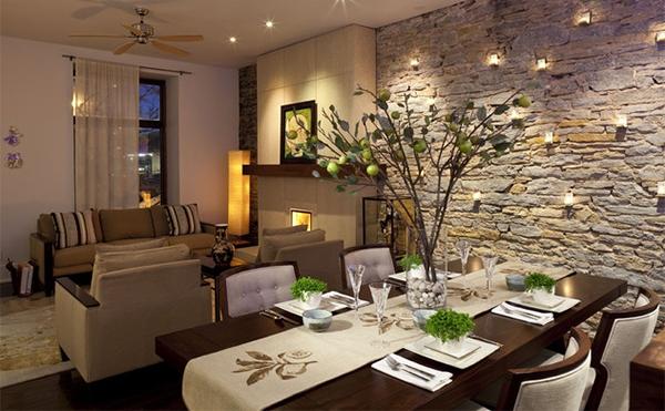 ruang makan unik dengan dinding batu bata rancangan