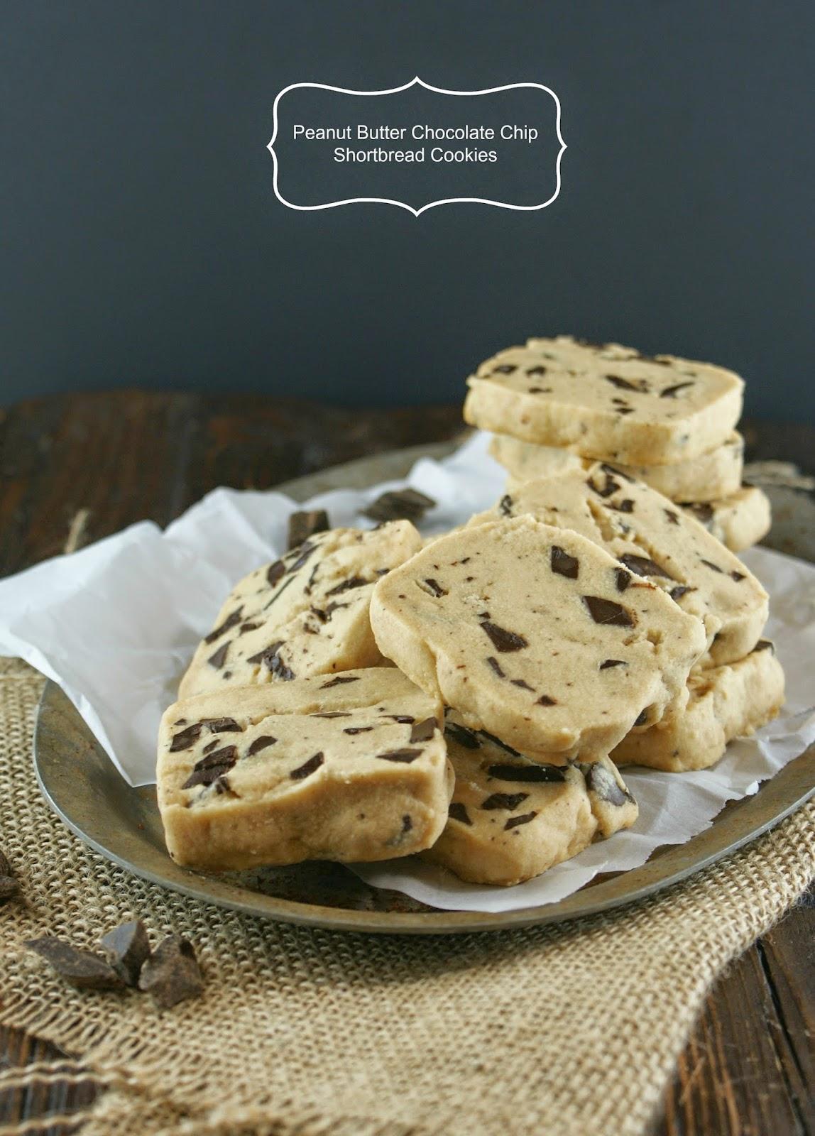 peanut butter chocolate chip shortbread cookies | secret recipe club