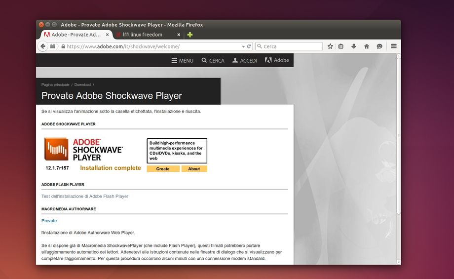 Adobe Shockwave Player in Firefox su Ubuntu