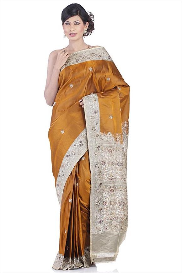 Amber Satin Banarasi Saree