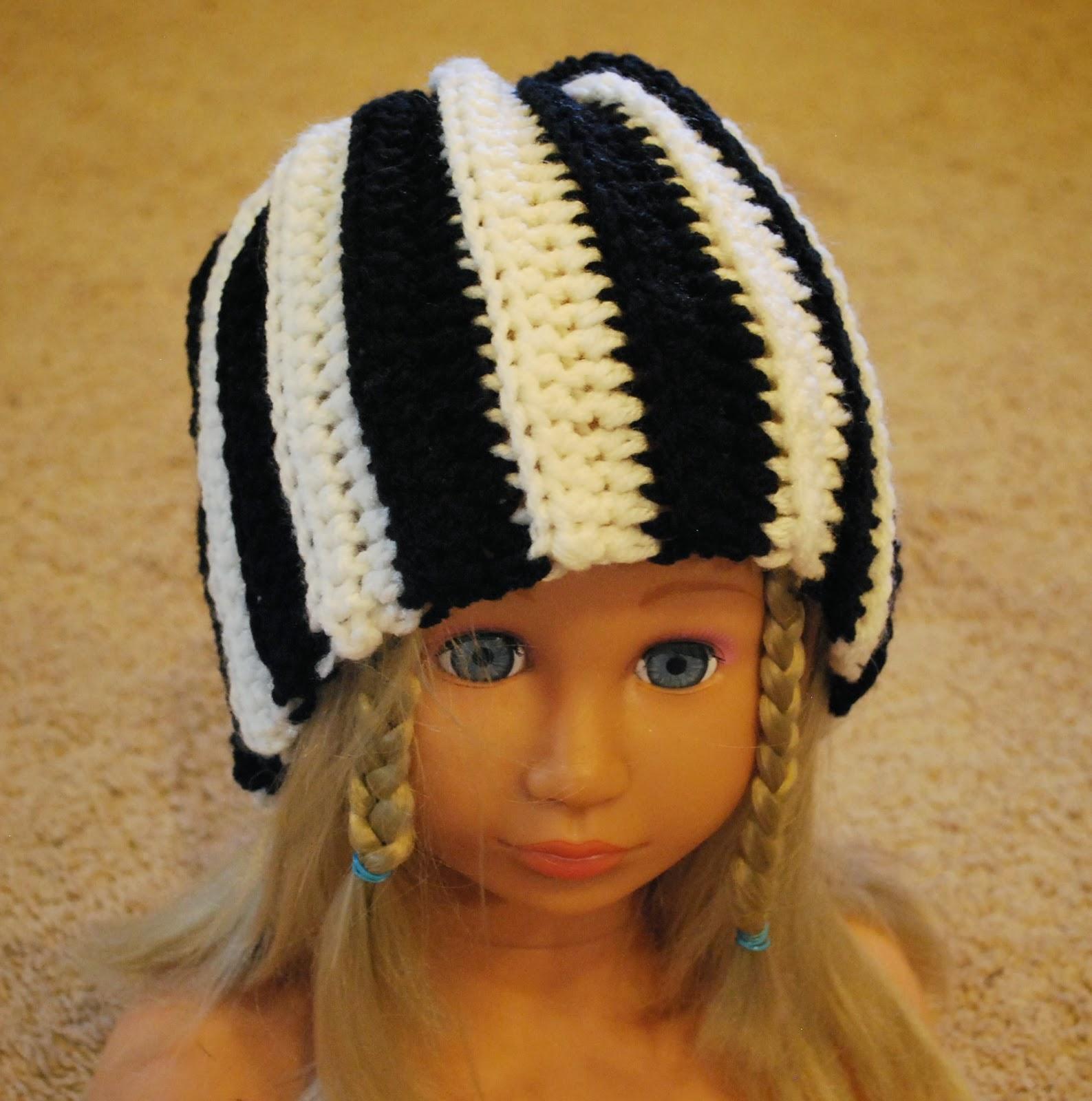 Zebra striped crochet hat