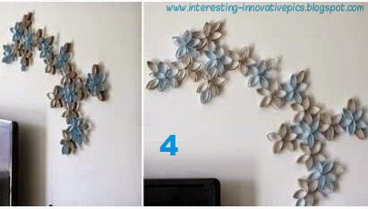 Waste paper wall decorations | interior decoration idea using waste tissue paper roll