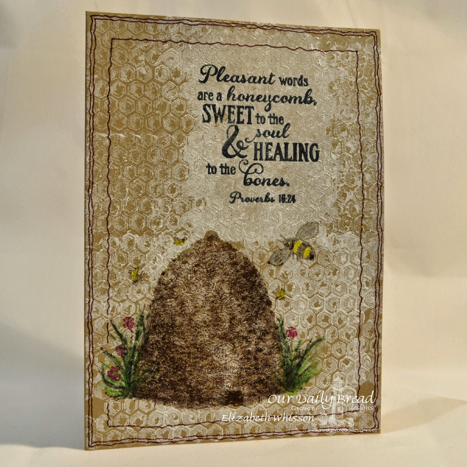 Elizabeth Whisson, Our Daily Bread Designs, Bee Happy, Honeycomb mini, kraft, handmade card