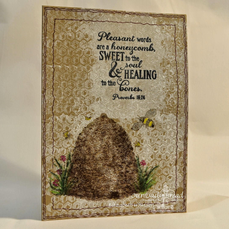 Elizabeth Whisson, Our Daily Bread Designs, Bee Happy, Honeycomb mini, kraft, handmade card